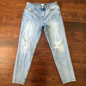 Forever21 high rise distressed mom jeans